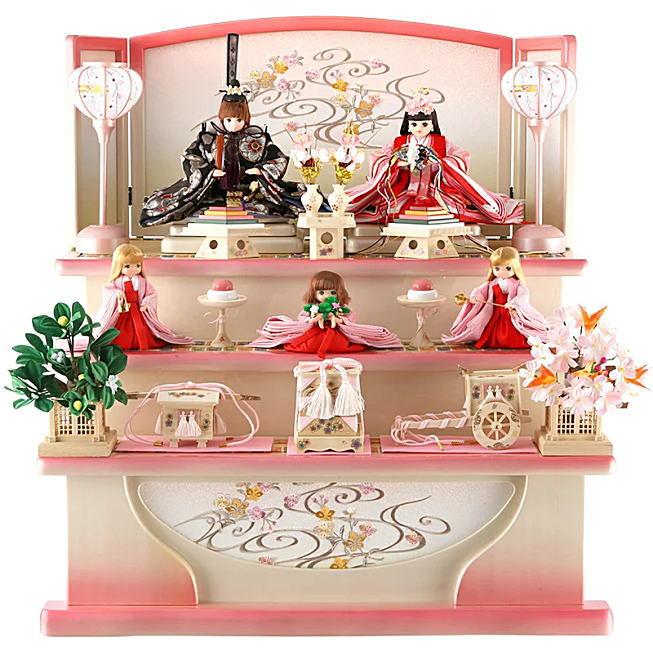 雛人形リカちゃん 三段飾り 五人飾り